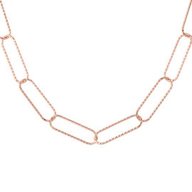 Link Necklace in Rose Gold Plated Sterling Silver 9.36 Grams 30 Inch