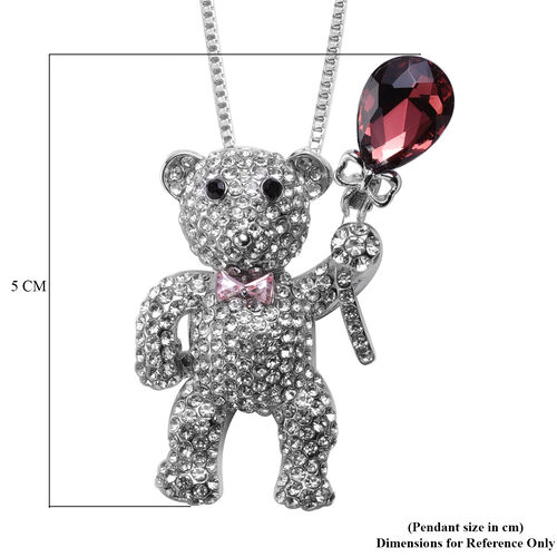 Black and White Austrian Crystal, Simulated Rhodolite Garnet, Simulated Pink Sapphire Teddy Bear Pendant with Chain (Size 32 with Extender) in Silver Tone