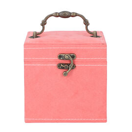 Peach Velvet 3 layer jewelry box with mirror vintage style handle and lock