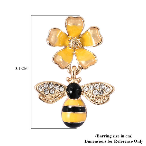 White Austrian Crystal Enamelled Bee and Flower Earrings (with Push Back)