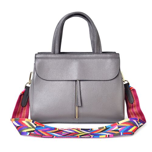 Designer Inspired  - Limited Edition- 100% Genuine Premium Leather Grey Colour Tote Bag with Removable Colourful Shoulder Strap (Size 29X22X10.5 Cm)