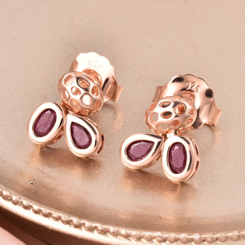 RACHEL GALLEY Misto Collection - AA African Ruby Earrings (with Push Back) in Rose Gold Overlay Sterling Silver 3.14 Ct.