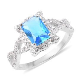 Simulated Aquamarine and Simulated Diamond Halo Ring in Rhodium Plated Sterling Silver