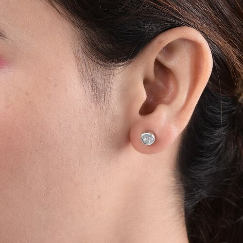 Artisan Crafted Polki Diamond Stud Earrings (with Push Back) in Platinum Overlay Sterling Silver