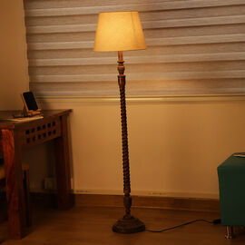 NAKKASHI - Hand Carved Wooden Floor Lamp with Shade (Size Shade: 25x45x28 Cm, Base: 23x23x126 Cm)