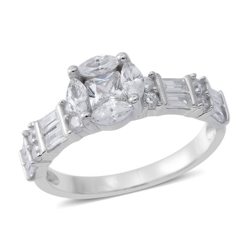 ELANZA Simulated White Diamond (Sqr) Ring in Rhodium Plated Sterling Silver