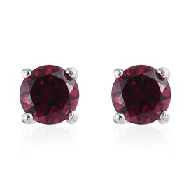 Rhodolite Garnet (Rnd) Stud Earrings (with Push Back) in Platinum Overlay Sterling Silver 1.25 Ct.