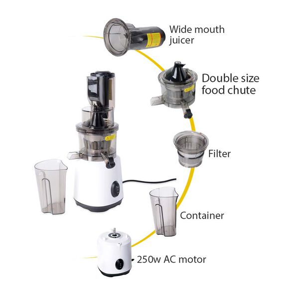 240W Wide Mouth Slow Juicer with a Container, a Fine Filter and a Cleaning Brush - White