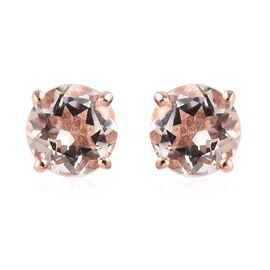 Marropino Morganite Stud Earrings (with Push Back) in Rose Gold Overlay Sterling Silver 1.00 Ct.