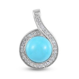 Arizona Sleeping Beauty Turquoise and Natural Cambodian Zircon Pendant in Platinum Overlay Sterling