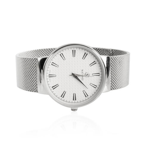 STRADA Japanese Movement Water Resistant White Colour Dial Watch with Silver Strap
