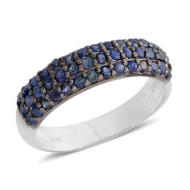 Madagascar Blue Sapphire (Rnd) Ring in Rhodium and Black Overlay Sterling Silver Ring 1.000 Ct
