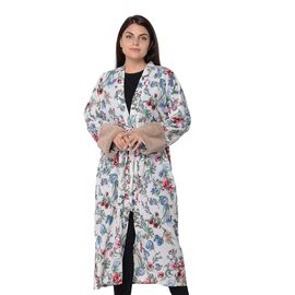 Long Size Floral Pattern Robe Cuff (Size 121.9x61 Cm) - Off White