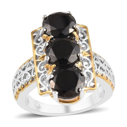 2 Carat Elite Shungite Trilogy Ring in Platinum and Yellow Gold Plated Sterling Silver 5.75 Grams