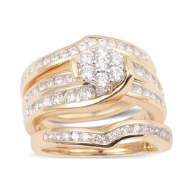 NY Close Out Deal-Set of 3 14K Yellow Gold Diamond (Rnd) (SI/I1-G-H) Ring 1.502 Ct, Gold wt 9.60 Gms