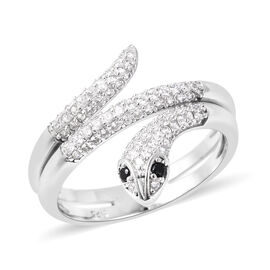 ELANZA Simulated Diamond (Rnd), Simulated Black Spinel Snake Ring in Rhodium Overlay Sterling Silver