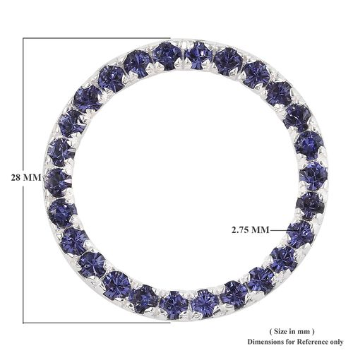 J Francis - Crystal from Swarovski Tanzanite Colour Crystal (Rnd) Pendant in Sterling Silver