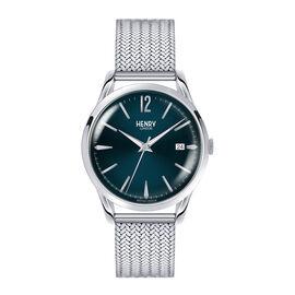 HENRY LONDON Knightsbridge Ladies Blue Dial Mesh Bracelet Watch in Silver Tone