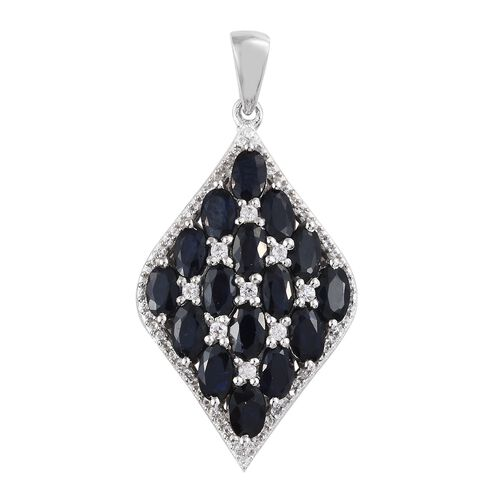 Madagascar  Blue Sapphire (Ovl), Natural Cambodian Zircon Pendant in Platinum Overlay Sterling Silve