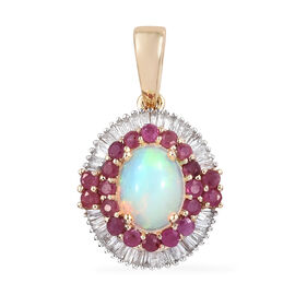 9K Yellow Gold AA Ethiopian Welo Opal (Ovl 8x6 mm), African Ruby and Diamond Pendant 1.550 Ct.