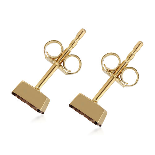 9K Yellow Gold SGL Certified Champagne Diamond (I3) Stud Earrings (with Push Back) 0.50 Ct.