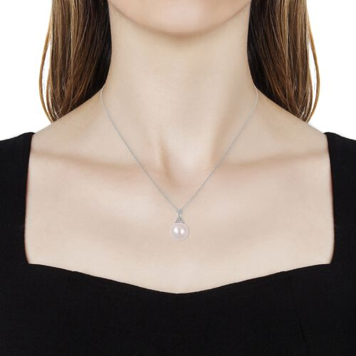 Edison Pearl (Rnd 14-15 mm), Natural Cambodian White Zircon Pendant with Chain (Size 18) in Rhodium Overlay Sterling Silver