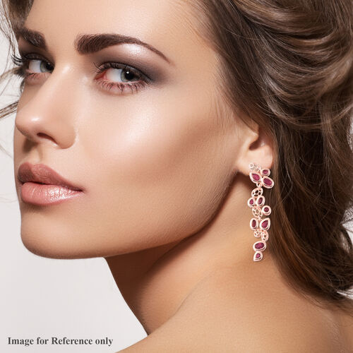 RACHEL GALLEY Misto Collection - AA African Ruby Dangle Earrings (with Push Back) in Rose Gold Overlay Sterling Silver 8.37 Ct, Silver wt. 10.47 Gms