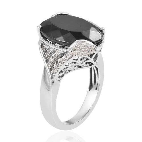 Elite Shungite (Ovl 16x12 mm), Natural Cambodian Zircon Ring in Platinum Overlay Sterling Silver 5.75 Ct.