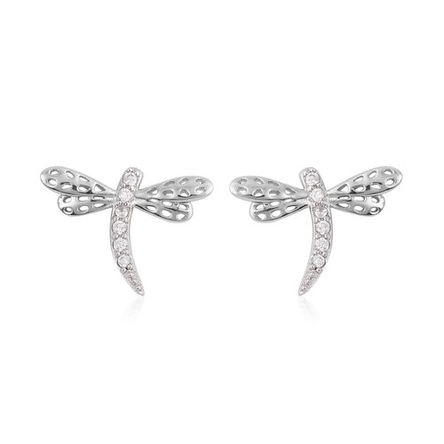 ELANZA 2 Piece Set -  Simulated Diamond Dragonfly Stud Earrings (with Push Back) and Pendant in Rhodium Overlay Sterling Silver 0.30 Ct.