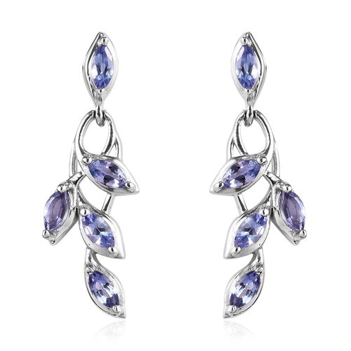 Tanzanite (Mrq) Leaf Dangle Earrings (with Push Back) in Platinum Overlay Sterling Silver 1.500 Ct.