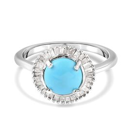 Arizoan Sleeping Beauty Turquoise and Diamond Ring in Platinum Overlay Sterling Silver 1.200 Ct.