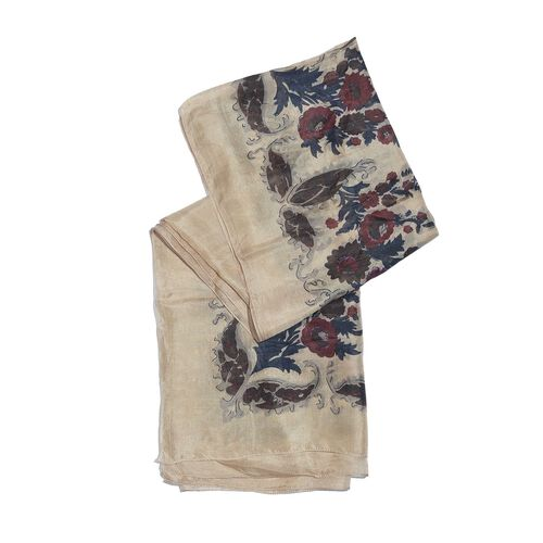 100% Mulberry Silk Cream, Navy and Multi Colour Handscreen Floral Printed Scarf (Size 200X180 Cm)