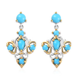 1.40 Ct Arizona Sleeping Beauty Turquoise Dangle Earrings in Platinum and Gold Plated Silver