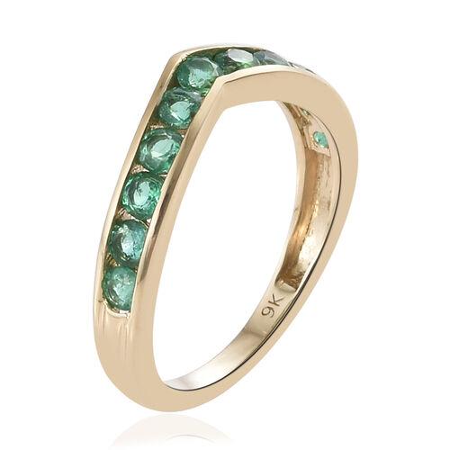 9K Yellow Gold AA Kagem Zambian Emerald (Rnd) Wishbone Ring 0.700 Ct.