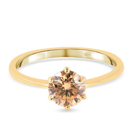 Champagne Moissanite Solitaire Ring in Yellow Gold Overlay Sterling Silver