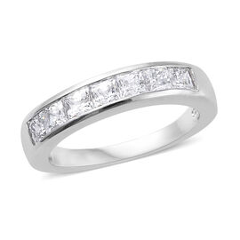 J Francis Platinum Overlay Sterling Silver (Princess) Band Ring Made with Swarovski Zirconia