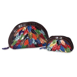Set of 2 - 100% Genuine Leather Multicolour Leaf Applique Pattern Cosmetic Bag with Zip Closure