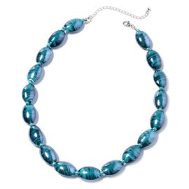 Simulated London Blue Topaz and Murano Glass Barrel Beaded Necklace in Stainless Steel 20 Inch