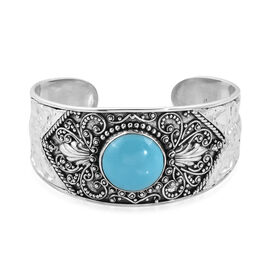 Arizona Sleeping Beauty Turquoise (Round 20 mm) Cuff Bangle (Size 7.5) in Sterling Silver 23.96 Ct,