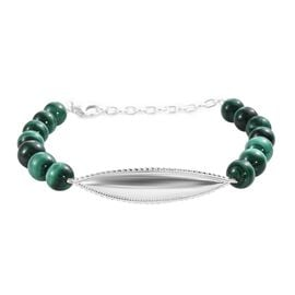 Malachite Beads Bracelet (Size 7 with 1.5 inch Extender) in Sterling Silver 63.250 Ct,