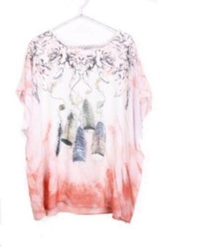 Urban Mist White and Peach Top with Feather Print(Inside Layer - 100% Cotton & Outside Layer - 100%