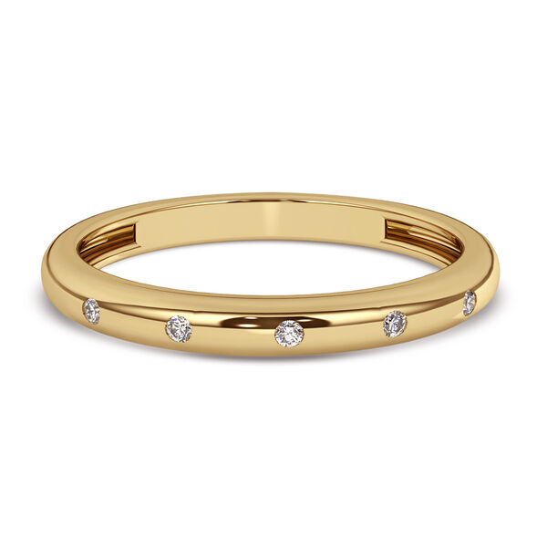 Diamond Band Ring in 14K Gold Overlay Sterling Silver