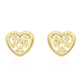 9K Yellow Gold Floral Heart Stud Earrings (with Push Back)