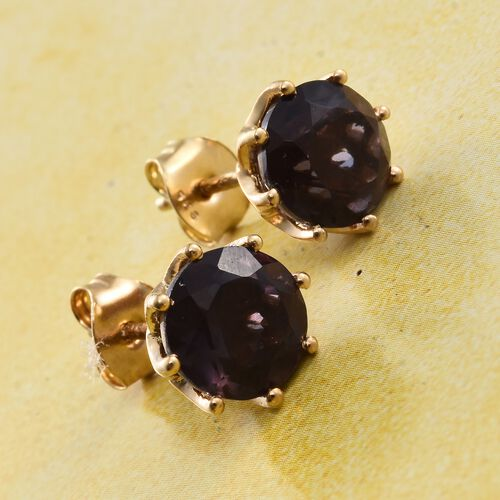 Colour Change Alexandrite Quartz (Rnd) Stud Earrings (with Push Back) in 14K Gold Overlay Sterling Silver 4.250 Ct.