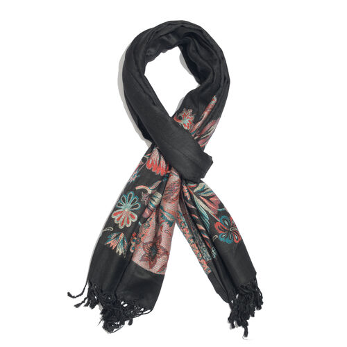 Red, Blue, Black and Multi Colour Floral Pattern Scarf with Fringes (Size 200x70 Cm)