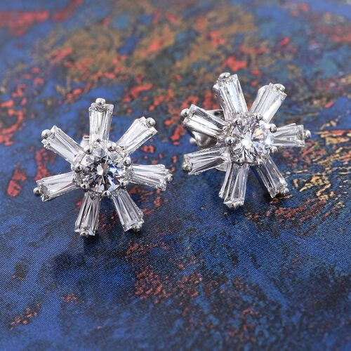 J Francis - Platinum Overlay Sterling Silver (Rnd) Snowflake Stud Earrings (with Push Back) Made with SWAROVSKI ZIRCONIA