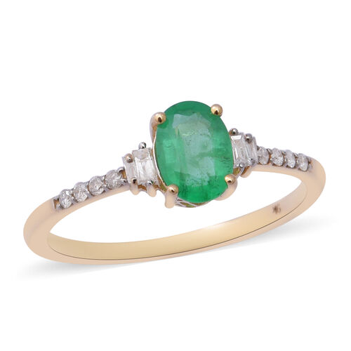 0.92 Ct AA Zambian Emerald and Natural Diamond Solitaire Ring in 9K Gold