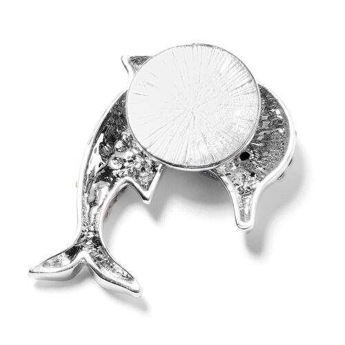 Austrian White and Black Crystal Dolphin Brooch with Magnet in Silver Plated