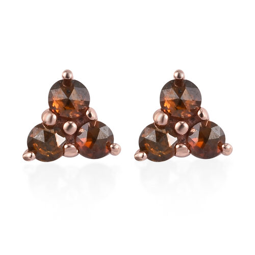 9K Rose Gold Red Diamond Stud Earrings (with Push Back) 0.25 Ct.