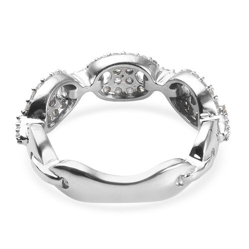 Diamond (Rnd) Band Ring in Platinum Overlay Sterling Silver 0.500 Ct.
